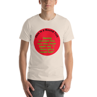 Bella and Canvas Short-Sleeve Unisex T-Shirt: Round Tuit green text on red