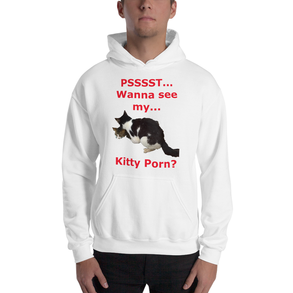 Gildan Hooded Sweatshirt: Kitty porn 3 red textt
