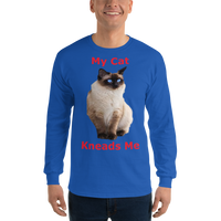 Gildan Long Sleeve T-Shirt: My cat kneads me Siamese red text