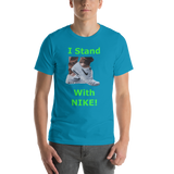 Bella and Canvas Short-Sleeve Unisex T-Shirt: I stand with Nike green text