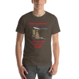 Bella and Canvas Short-Sleeve Unisex T-Shirt: Sharing Works red text