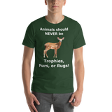 Bella and Canvas Short-Sleeve Unisex T-Shirt: Animals should NEVER be white text