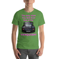 Bella and Canvas Short-Sleeve Unisex T-Shirt: Only view Vanquish magenta text