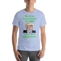 Bella and Canvas Short-Sleeve Unisex T-Shirt: bad combover green text