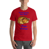 Bella and Canvas Short-Sleeve Unisex T-Shirt: Thanksgiving 2018 roast blue text