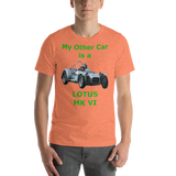 Bella and Canvas Short-Sleeve Unisex T-Shirt: Lotus MK VI green text