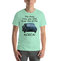 Bella and Canvas Short-Sleeve Unisex T-Shirt: Only view Aceca black text