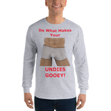 Gildan Long Sleeve T-Shirt: Male Undies Gooey red text