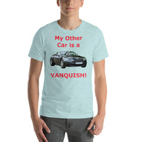 Bella and Canvas Short-Sleeve Unisex T-Shirt: Other car Vanquish red text