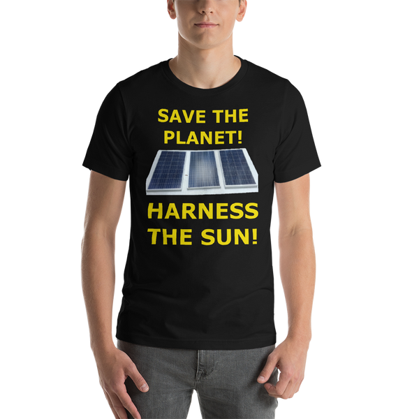 Bella and Canvas Short-Sleeve Unisex T-Shirt: harness the sun yellow text