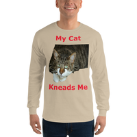 Gildan Long Sleeve T-Shirt: My cat kneads me domestic red text