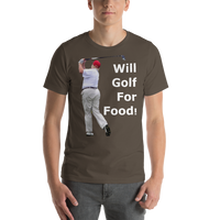 Bella and Canvas Short-Sleeve Unisex T-Shirt: will golf for food white text