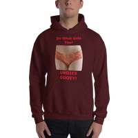 Gildan Hooded Sweatshirt: female Undies Gooey red text