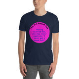 Gildan Short-Sleeve Unisex T-Shirt: Round Tuit blue text on magenta