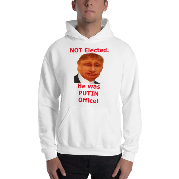 Gildan Hooded Sweatshirt: Putin office 2 red text