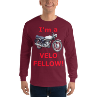 Gildan Long Sleeve T-Shirt: Velo Fellow red text
