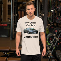 Bella and Canvas Short-Sleeve Unisex T-Shirt: other car Vanquish black text