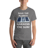 Bella and Canvas Short-Sleeve Unisex T-Shirt: harness the sun white text