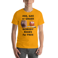 Bella and Canvas Short-Sleeve Unisex T-Shirt: ass gas or grass black text