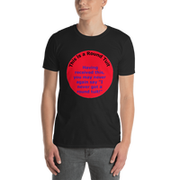 Gildan Short-Sleeve Unisex T-Shirt: Round Tuit blue text on red