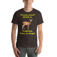 Bella and Canvas Short-Sleeve Unisex T-Shirt: Animals should NEVER be yellow text
