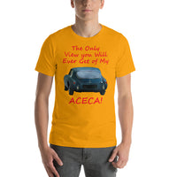 Bella and Canvas Short-Sleeve Unisex T-Shirt: Only view Aceca red text