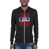Bella and Canvas Unisex zip hoodie: Harness the Sun red text
