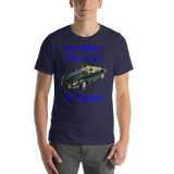 Bella and Canvas Short-Sleeve Unisex T-Shirt: E-Type blue text