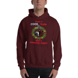 Gildan Hooded Sweatshirt: Cool Yule red text