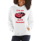 Gildan Hooded Sweatshirt: Alfa Female red text