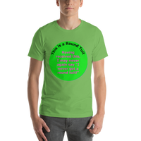 Bella and Canvas Short-Sleeve Unisex T-Shirt: magenta text on green