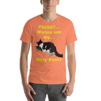 Bella and Canvas Short-Sleeve Unisex T-Shirt: Kitty Porn 3 Yellow Text