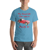 Bella and Canvas Short-Sleeve Unisex T-Shirt: Favorite car Plus 4 red text