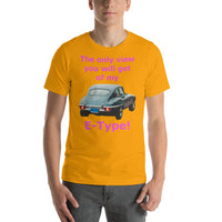 Bella and Canvas Short-Sleeve Unisex T-Shirt: only view E Type magenta text