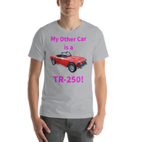 Bella and Canvas Short-Sleeve Unisex T-Shirt: TR-250 magenta text