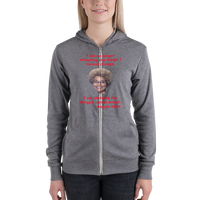 B & C Unisex zip hoodie: Angela Davis quote red text