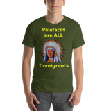 Bella and Canvas Short-Sleeve Unisex T-Shirt: immigrants yellow text