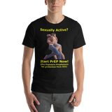 Bella and Canvas Short-Sleeve Unisex T-Shirt: sexually active start PrEP yellow text