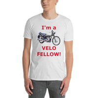 Gildan Short-Sleeve Unisex T-Shirt: Velo Fellow red text