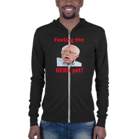 B & C Unisex zip hoodie: Feeling the Bern yet red text