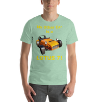 Bella and Canvas Short-Sleeve Unisex T-Shirt: Lotus 7 yellow text