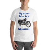 BElla and Canvas Short-Sleeve Unisex T-Shirt: Squariel blue text