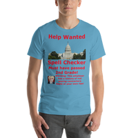 Bella and Canvas Short-Sleeve Unisex T-Shirt: Help Wanted Red Text