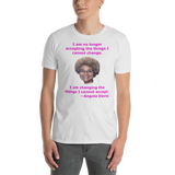 Gildan Short-Sleeve Unisex T-Shirt: Angela Davis quote magenta text