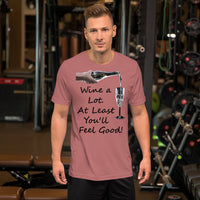 Bella and Canvas Short-Sleeve Unisex T-Shirt: Wine a lot 2 black text
