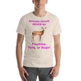 Bella and Canvas Short-Sleeve Unisex T-Shirt: Animals should NEVER be magenta text