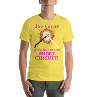 Bella and Canvas Short-Sleeve Unisex T-Shirt: Joe Lucas inventor of the short circuit magenta text