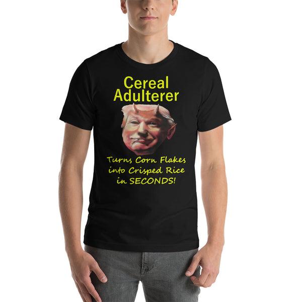 Bella and Canvas Short-Sleeve Unisex T-Shirt: Cereal adulterer yellow text