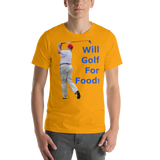 Bella and Canvas Short-Sleeve Unisex T-Shirt: Will golf for food blue text