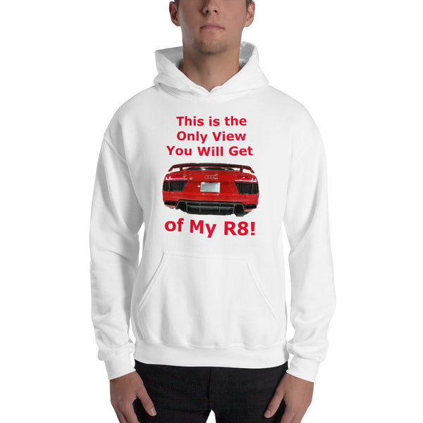 Gildan Hooded Sweatshirt: Only View R8 red text